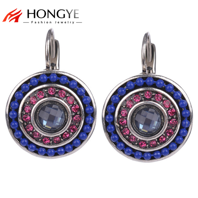 HONGYE 2 s Vintage Women Simple Blue Beads Pink Pink Zircon Charms Statement Clip Stud Stud Ականջօղեր կանանց նորաձևության զարդերի համար