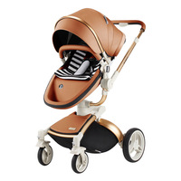 High Landscape Upgrade Leather Aluminum Cart Fournwheel Baby Stroller Shock Absorber Travel Stroller baby carriage 0 4Y