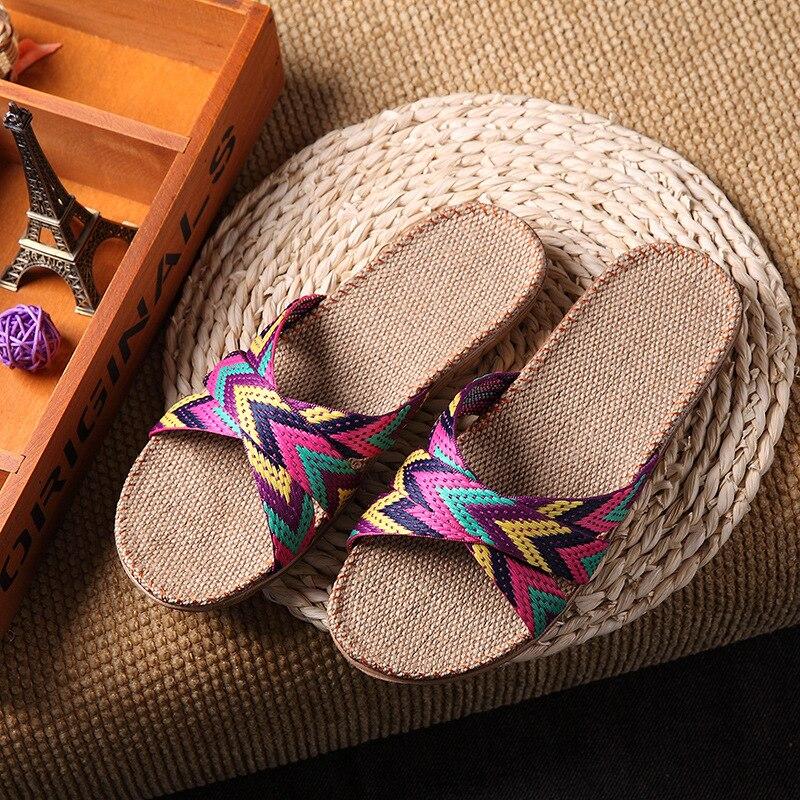 Japan style ultra light household slippers women and men hemp striped slippers