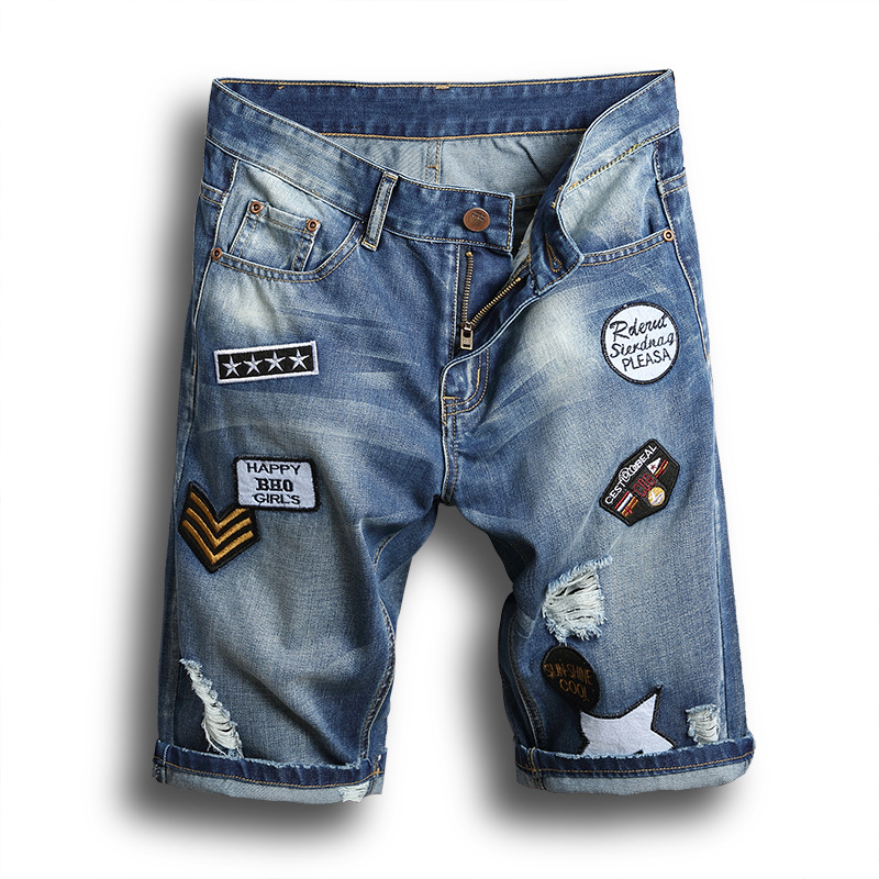 Casual Hole Jean New 2019 Summer Punk Ripped Jeans Short Men Blue Knee Length