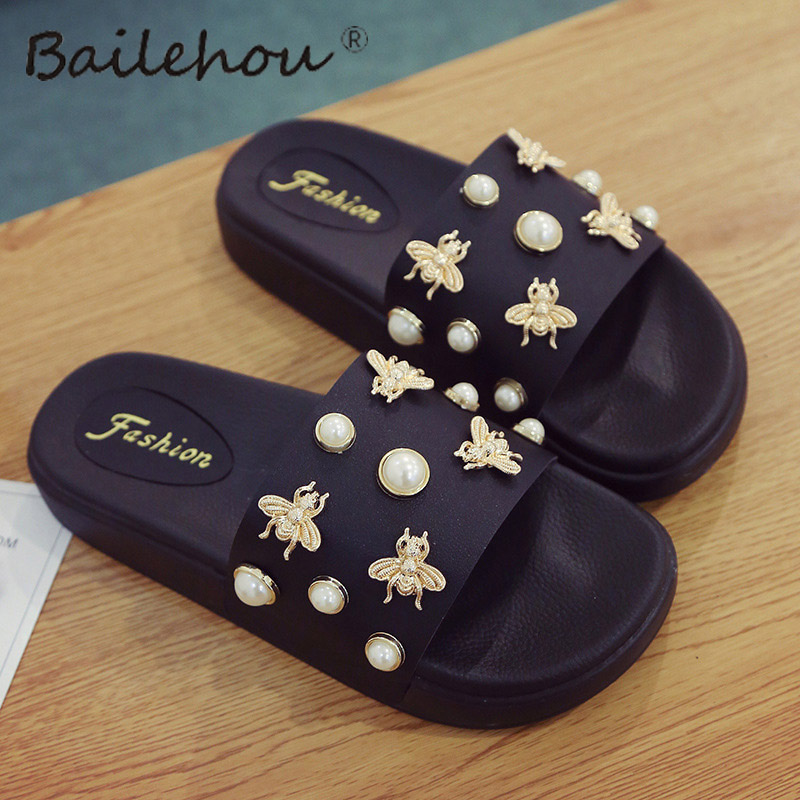 Bailehou Women Slippers Flat Ladies Woman Shoes New Slip On Slides Beach Pearl Fashion Female Slippers Flip Flops Sandals