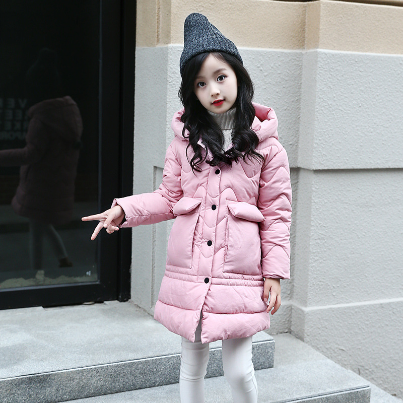 2017 Thick Warm Hooded Girls Winter Coat Solid Slim Child Winter Jacket For Girls Baby Kids Cotton Parka Down