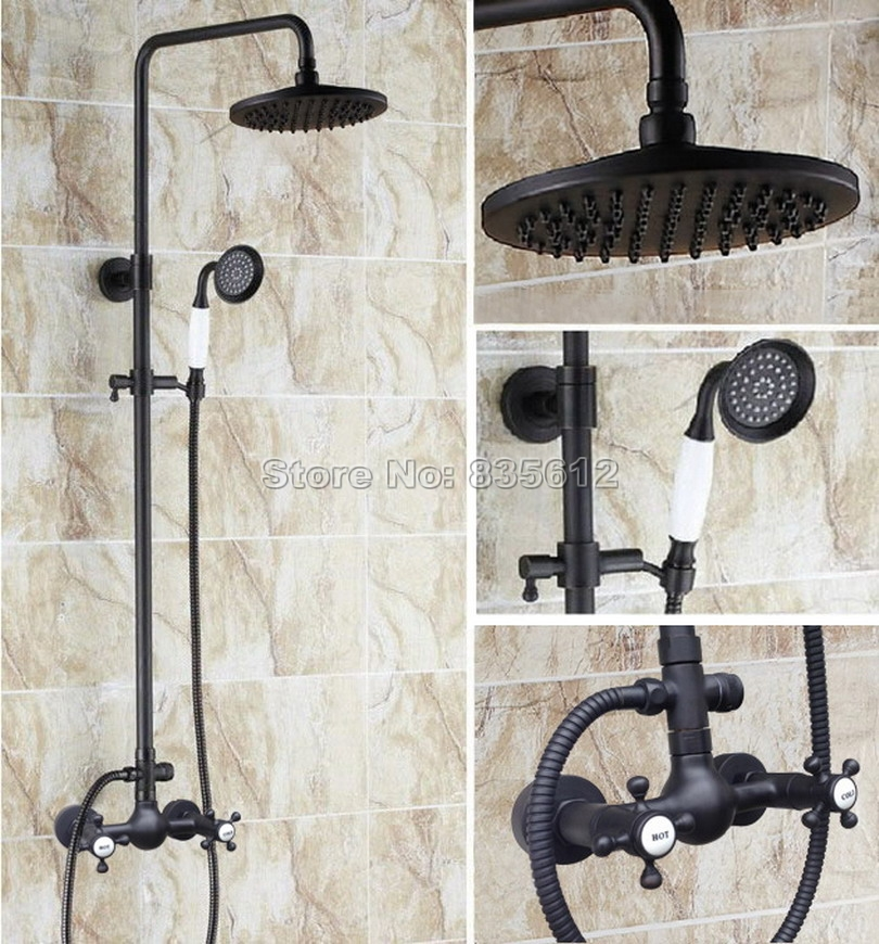 Wall Mounted Bathroom Black Oil Rubbed Bronze Rain Shower Faucet Set & Dual Handles Mixer Taps + Handheld Shower Head Wrs494