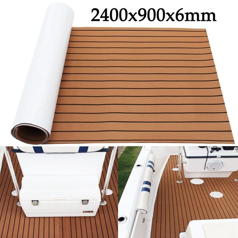 Autoleader 1Pcs 2400x900x6mm Brown Marine Flooring Faux Teak EVA Foam Boat Decking Sheet Foam Floor Mat Pad Art Decor