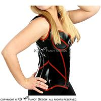 Black With Red Trims Sexy Latex Corsets With Lacing At Back Rubber Bustiers Top Clothing CY 0010