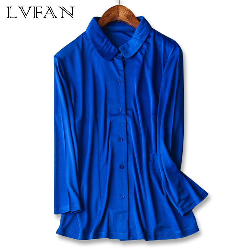 Women Doll Collar Long Sleeved Pure Nature Silk knitted Top Single Breasted Blouse Fashionable Style Shirt in Blouses amp Shirts from Women 39 s Clothing