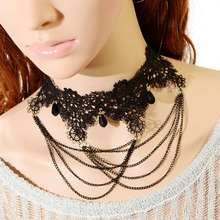 2016 New Fashion Gothic Steampunk Black Bead Women Party Lace Necklaces & Pendants Vintage Clavicle Chain False Collar Jewelry