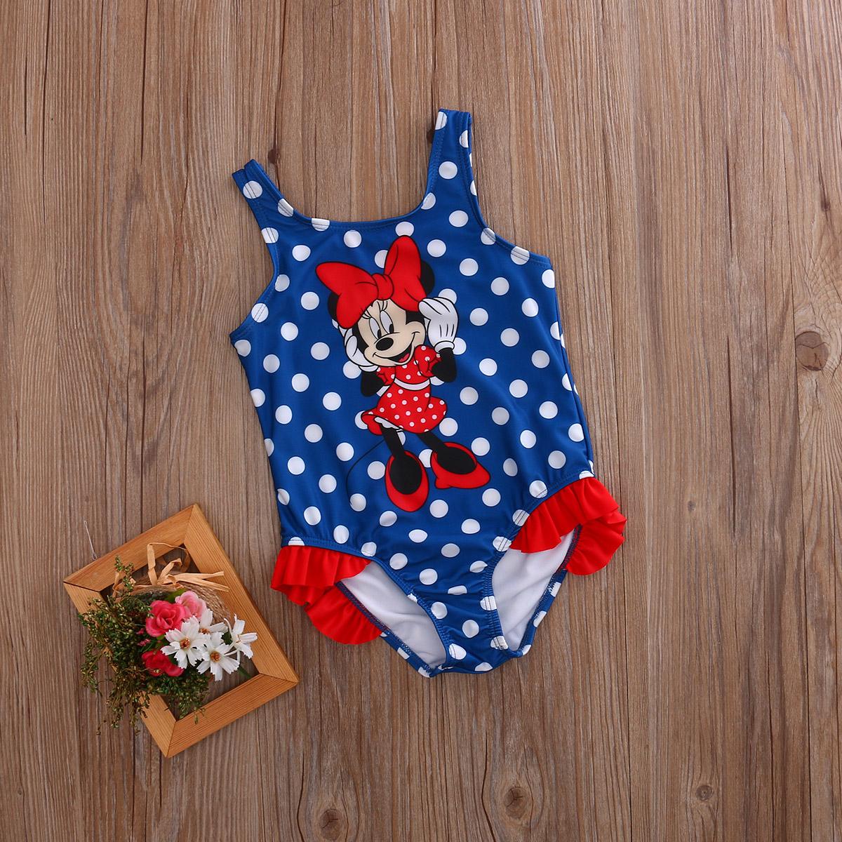 2017 Детский костюм, купальный костюм, купальный костюм в горошек, цельные костюмы для девочек, Танкини с рисунком мышки, От 1 до 5 лет для малыш... 14