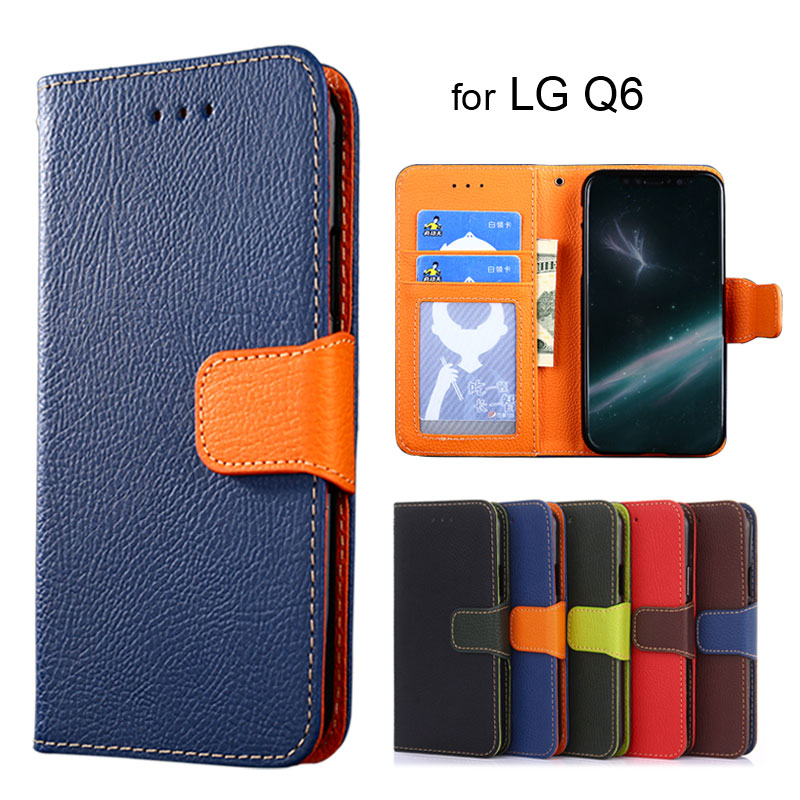 Wallet case for LG Q6 Litchi pattern PU leather with inside soft TPU cover coque Hit color fashion style