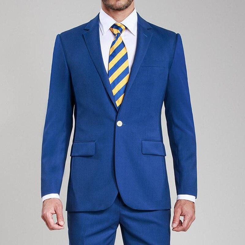 Egyedi készítésű trimmelés egy gomb kék vőlegény Tuxedókkal - Férfi ruházat