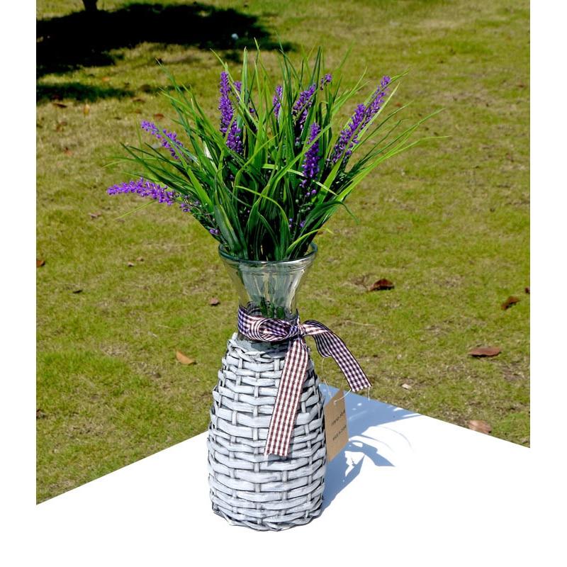 American Vintage Glass Rattan Flower Vase Crafts Ornaments Retro Vase Figurines Desk Decor Home Decor Accessories Wedding Gifts