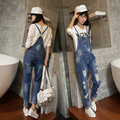 2017 new supermode loose trousers bf hole jeans denim bib pants female spring and autumn