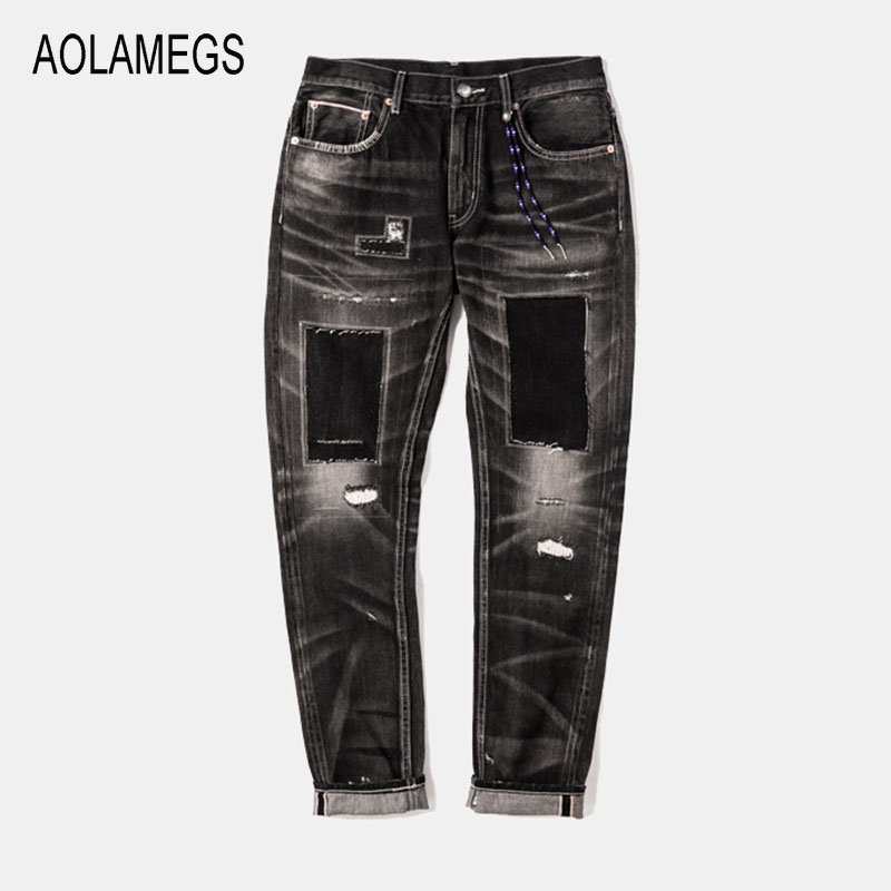 Aolamegs Jeans Men Fashion Design Patch Distressed Jeans Straight Wash Denim Trousers 2016 Top Quality Slim Fit Denim Streetwear european american style hole zipper men jeans luxury men s denim trousers straight nostalgic blue leisure street jeans slim pant