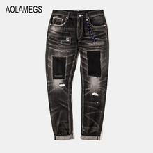Aolamegs Jeans Men Fashion Design Patch Distressed Jeans Straight Wash Denim Trousers 2016 Top Quality Slim Fit Denim Streetwear
