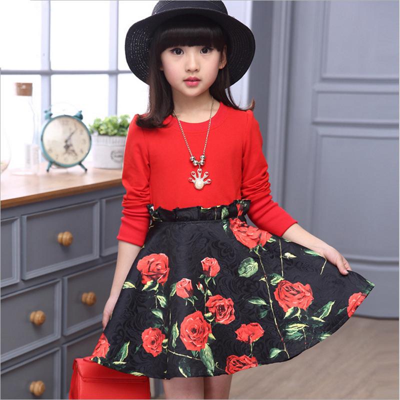 muchachas de la marca de impresin de manga larga vestido de primavera otoo nio nios