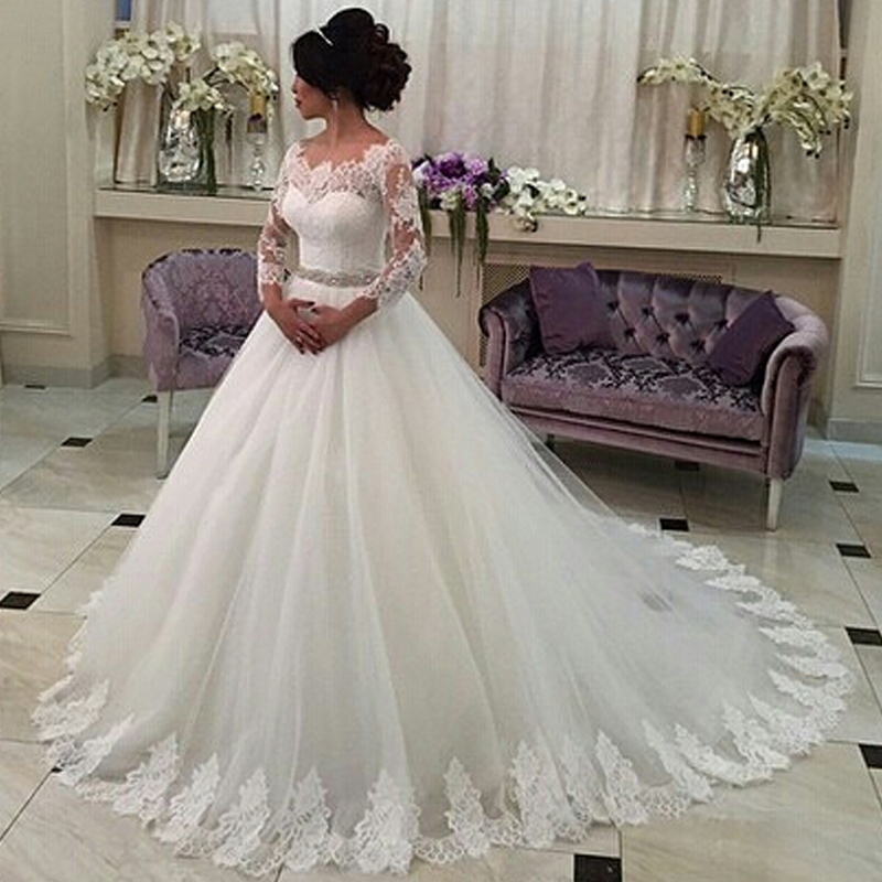 Lace Tulle Ball Gown Wedding Dress 3/4 Lace Sleeve 2016