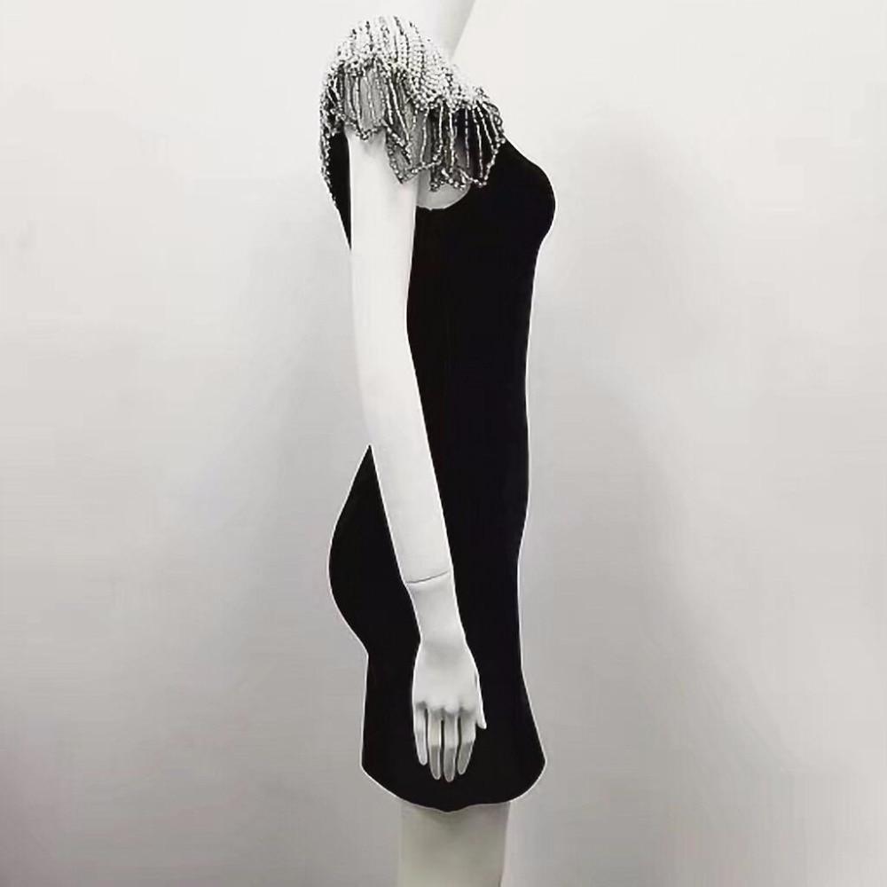 Manches Noir Bandage Brillant Beauté Robe À Parti Top Sexy Femmes Blanc 2017 Élastique Courtes Qualité Tricoté xvavY1q8