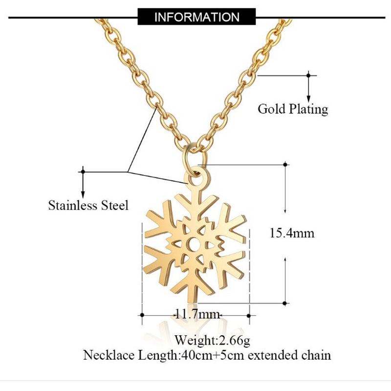 Stainless Steel Crystal Round Pendants Necklace Women Choker Jewelry Snowflake Trendy Necklaces Chain Valentine's Day