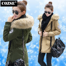 Slim Women Coat Fashion 2014 Korean Style Winter Fur Collar Thicken Cotton-Padded Jacket Women Clothing Free Shipping  H332