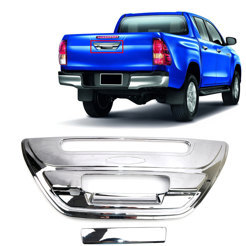 For Toyota Hilux Revo 2016 2017 2018 ABS Plastic Rear Door Handle Bowls Cover Decoration Trim