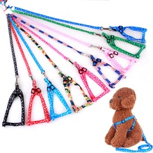 Dog Leash Floral Printed Dog Harness och Leash Pet Products Supplies Krage För Hund Valp Små Djur Tillbehör Gratis frakt