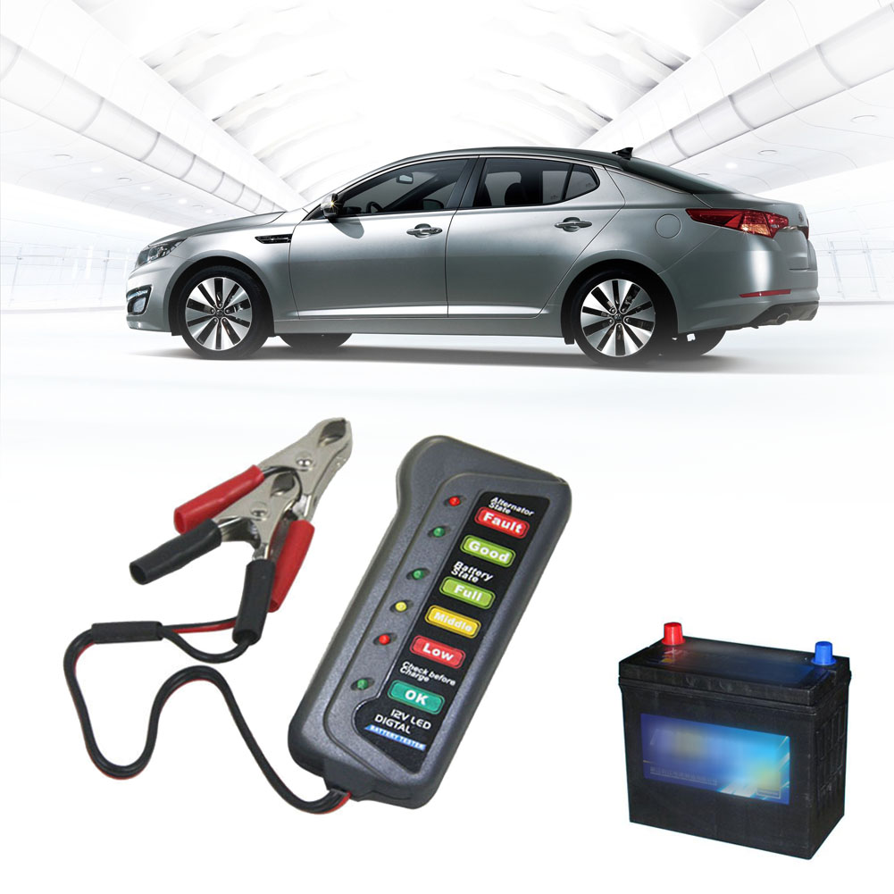Mini 12V Automotive/ Car Vehicle Battery Tester Charger/ Alternator/ Cranking Check with 6-LED Display Easy to Use