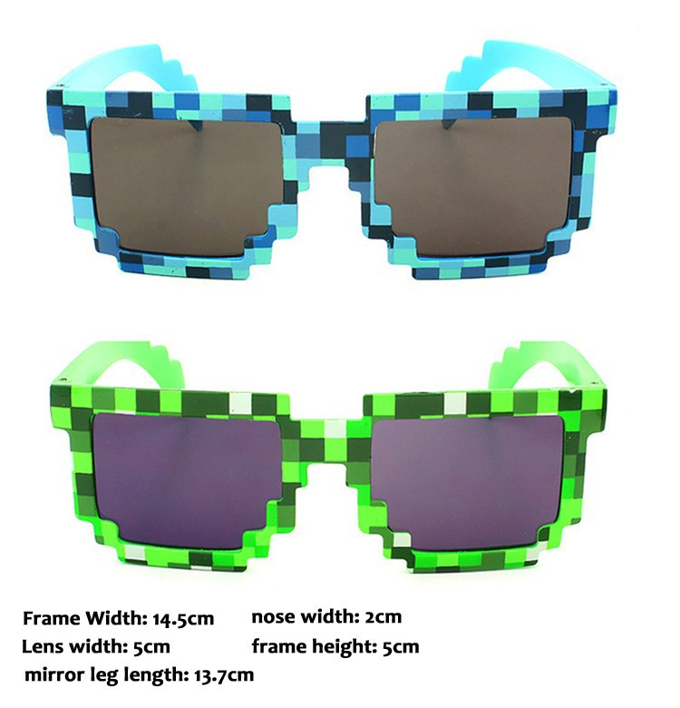 Deal with it Minecraft Glasses 8 bit Pixel Women Men Sunglasses Female Male Mosaic Sun Glasses Men's Women's Glasses Boys Girls cnhuain women s glasses square polarized sunglasses men brand designer vintage sun glasses for women female oculos feminino 2017