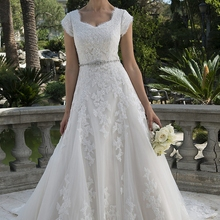 cecelle Lace A-line Wedding Dresses 2019 With Cap Sleeves
