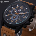 New 2016 Fashion Gold Quartz Watch Men Military Leather Strap Watches Luxury Brand Casual Relogio Masculino Wristwatches Brown