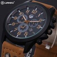 New 2016 Fashion Gold Quartz Watch Men Military Leather Strap Watches Luxury Brand Casual Relogio Masculino