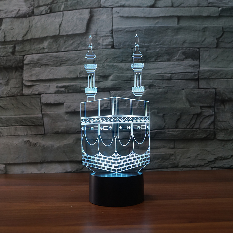 3D LED Building Creative Acrylic Colorful Castle Table Lamp Decor Gradient Atmosphere Night Light Baby Sleep Lighting Kids Gifts