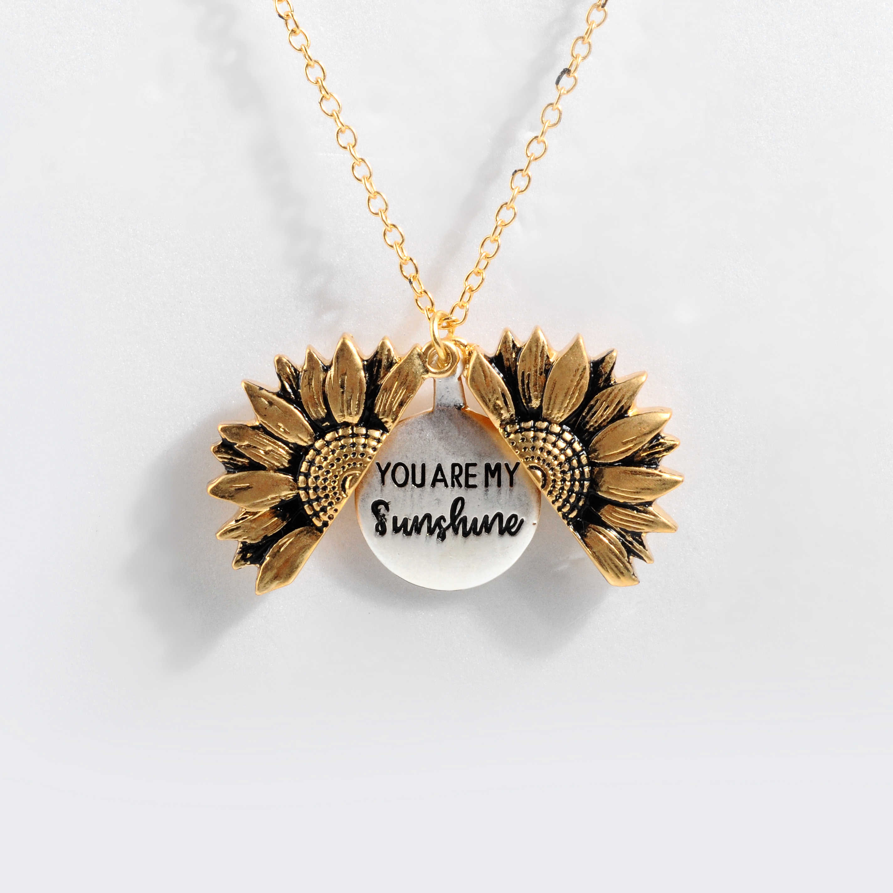 Droshipping Only Antique Gold Open Locket Sunflower Pendant Necklace