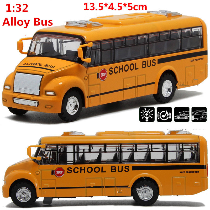 High Simulation School Bus, 1:32 Scale Alloy Pull Back School Bus Model, Diecast Bus Cars Toy,Children's Gift