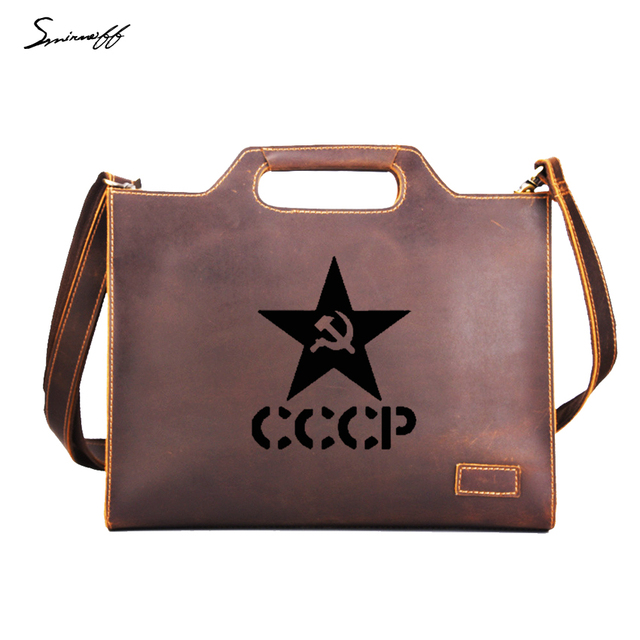 Soviet Union Cccp Business Briefcase Custom Name Men Handbags Vintage Leather Ipad Laptop Bags Messenger