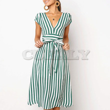 Cuerly v neck striped bow dress streetwear female midi casual sleeveless a line L5
