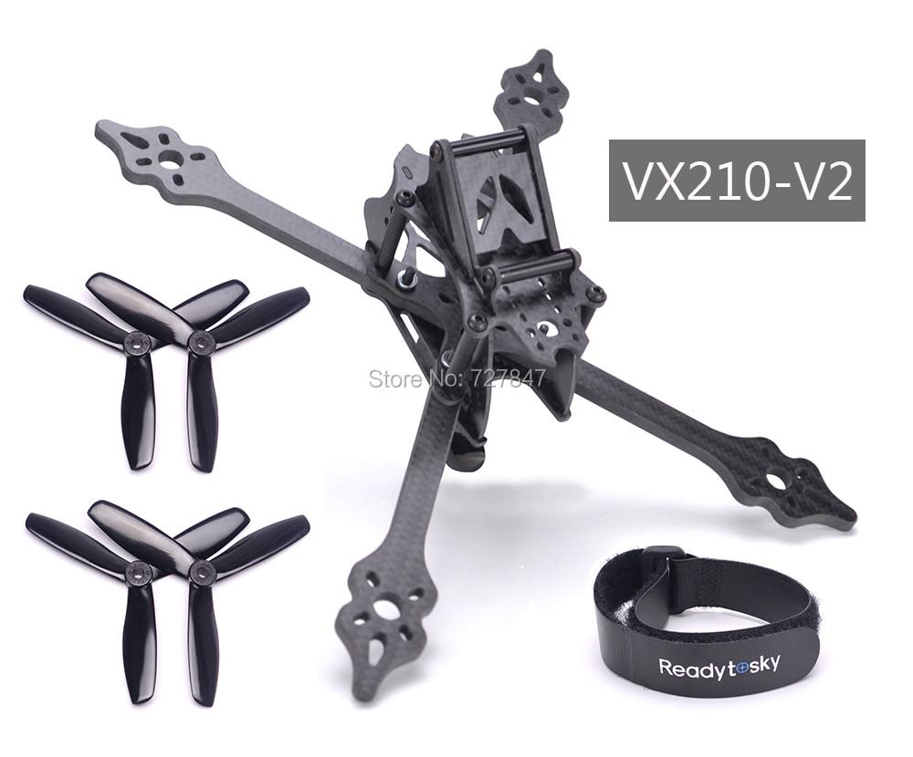 VX210-V2 VX210 210mm Carbon Fiber Frame + 5045 3 Blade Propeller + battery belt for Mini Four Axis Multi FPV Indoor Racing Drone видеорегистратор intego vx 410mr