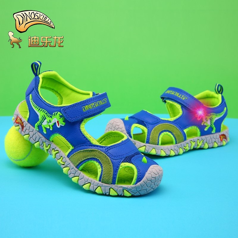 DINOSKULLS Boys Sandals Dinosaur LED Light 5 Kids Shoes Summer New Leisure Beach Sandals T-rex 6 Children's Shoes Boy Size 27-34