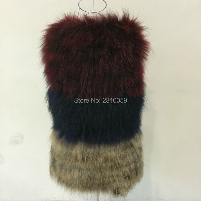 8a9be2770e248 New 100% Real Raccoon Fur vest Women s Winter Knitted 3 Colors Fur  Waistcoat Thermal Top Outerwear