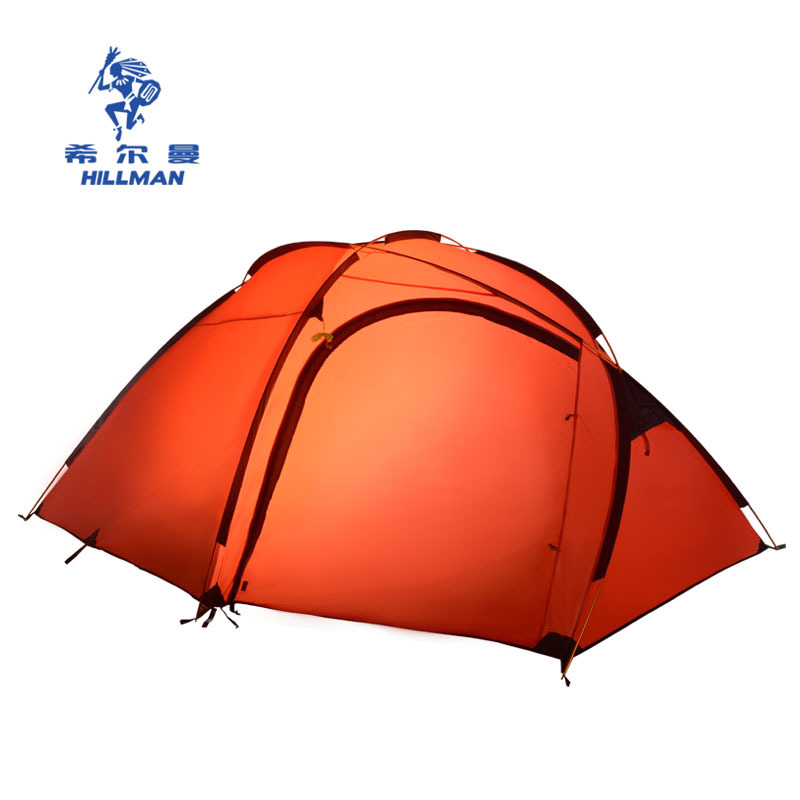 Hillman Qingyun 3-4 people a large outdoor aluminum pole double layer camping tent 4seasons high quality waterproof windproof mobi garden outdoor camping tent 4 seasons double layer aluminum tent two rooms big camping tent super large 3 4 persons tent
