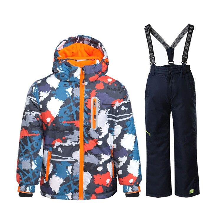 Índice impermeable 15000mm caliente niño traje de esquí niños niñas Chaquetas niños conjuntos de Ropa niños prendas de vestir exteriores para 3- 16 años de edad