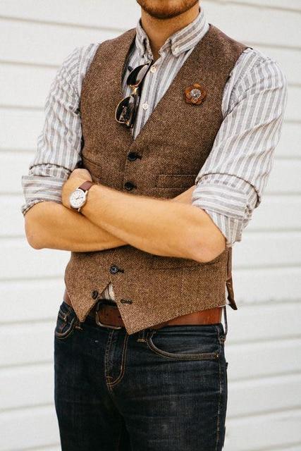 Country Farm Wedding Brown Wool Herringbone Tweed Vests Custom Made Groom  Vest Slim Fit Mens Suit ede32ed4a230