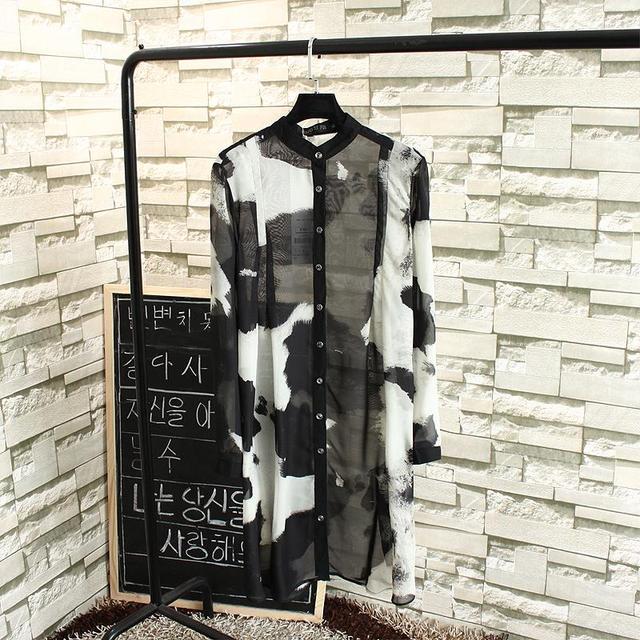 2017 Summer Style Chiffon Blouse Plus Size 3XL Casual Women Long Sleeve Blouse Shirt Black Transparent Long Shirts Blusas TY0602