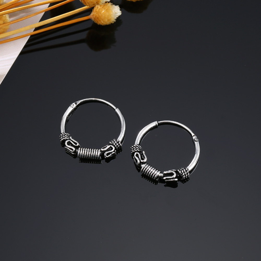 Dayoff European Bali Ball Endless Earrings Circle Earring Women Men Small Round Earring Jewelry Ethnic Loop Earings E36