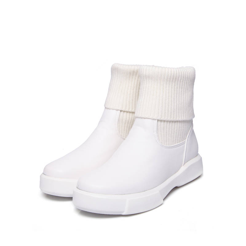 Image 2 - MORAZORA 2020 large size 34 43 round toe short plush autumn winter shoes woman slip on solid color ankle boots form women white-in Ankle Boots from Shoes