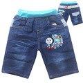 2015 new hot sale bordados calções moda verão das crianças dos miúdos das meninas dos meninos dos desenhos animados denim jeans shorts calças