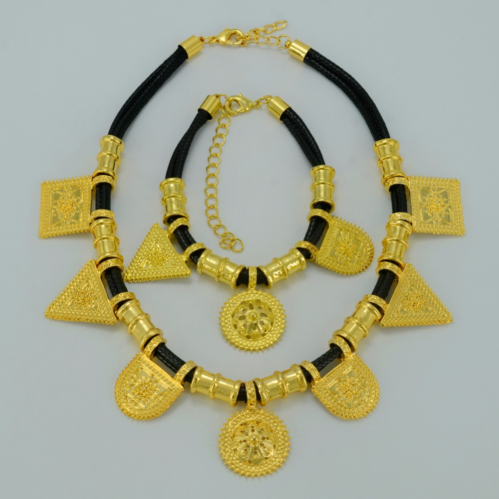 Anniyo Gold Color Ethiopian Jewelry Sets Necklace Bracelet Dubai ...