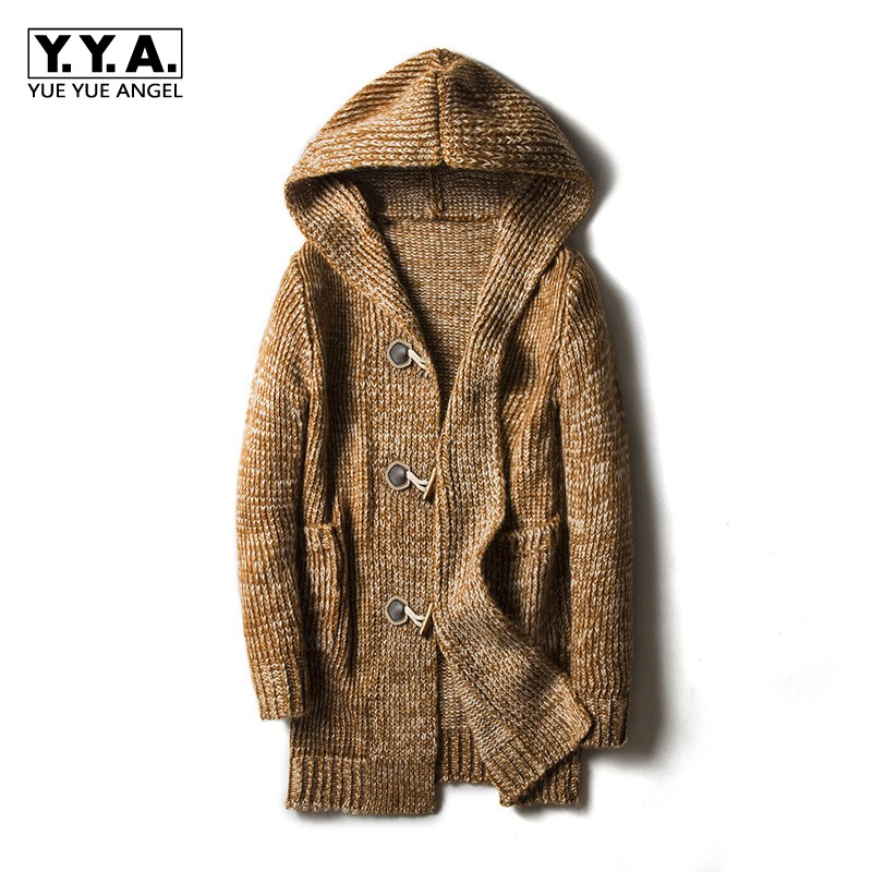 2019 Hooded Mens Sweater Cardigan Large Size M-5XL Knitted Outwear Coat Personality Buckle Design Long Coat Jaqueta Masculino