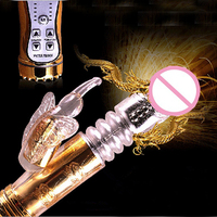USB pobierana Złoty kolor Królik Wibrator Elastyczny Wepchnięcie Dildo Wibrator Punkt G Seks Produkty dla Dorosłych Sex Zabawki Dla Kobiety
