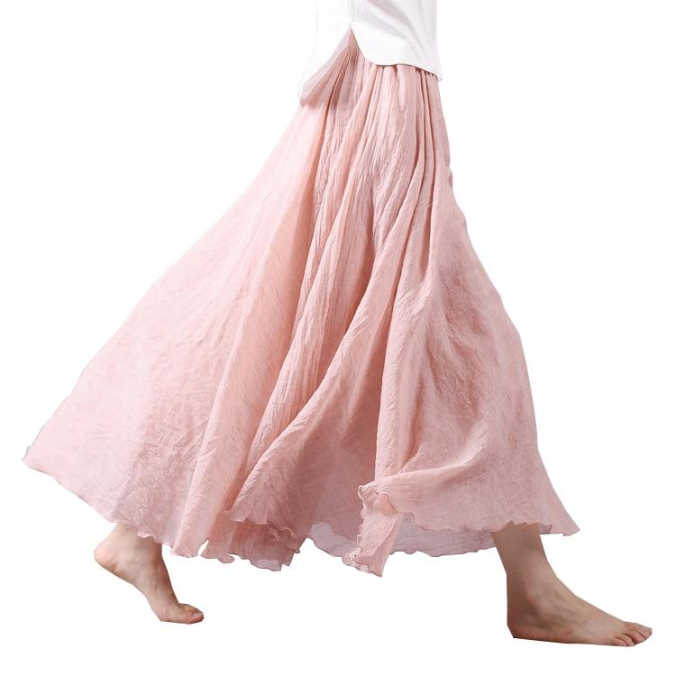 2019 Chic Design Summer Women Skirt Linen Cotton Vintage Long Skirts Elastic Waist Boho Beige Pink Maxi Skirts Faldas Saia