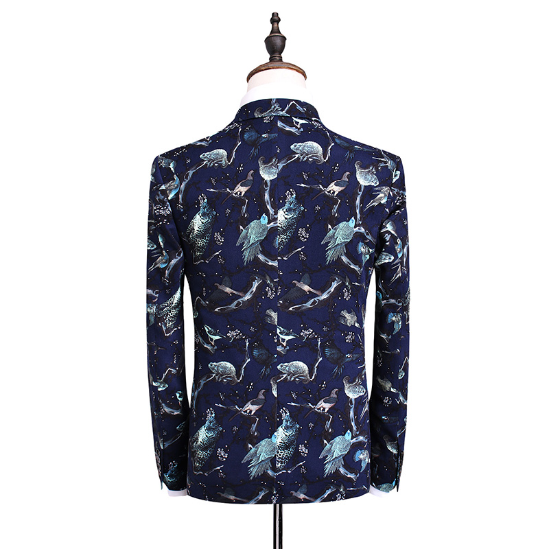 Loldeal Mens Wedding Prom Party Suits Navy Blue Floral Ternos Noivo Smoking Terno Dos Homens Set Fino Plus Size 5XL